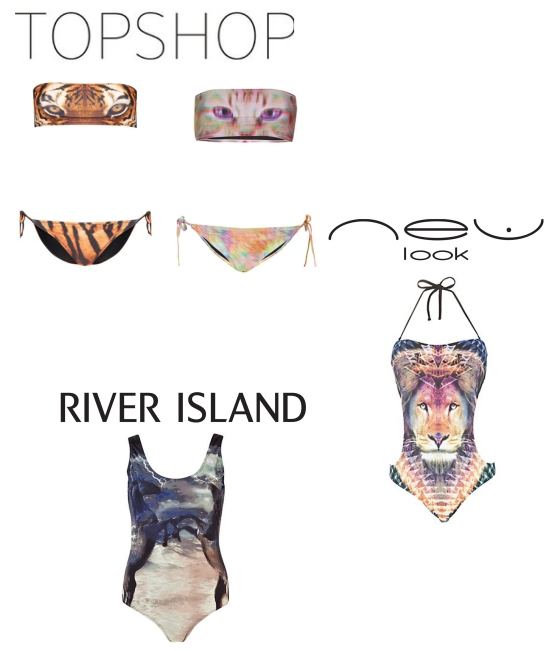 River Island, New Look and topshop animal swimwear cashmere and ivory